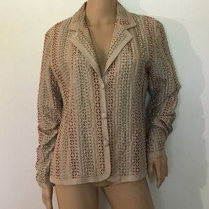 Chico's size 1 100% Silk Embroidered Jacket